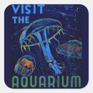 ヴィンテージWPAの訪問アクアリウムポスター スクエアシール