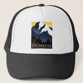 ヴィンテージWPAはアメリカモンタナポスター帽子を見ます キャップ