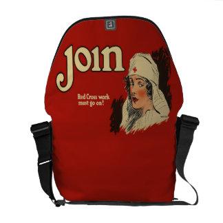 ヴィンテージWW1の赤十字のナースの募集 メッセンジャーバッグ