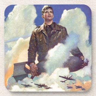 ヴィンテージWWIIの軍隊の空軍ポスターデザイン コースター