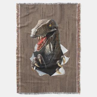 ヴェロキラプトルの恐竜によって編まれるブランケット スローブランケット