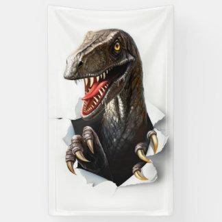 ヴェロキラプトルの恐竜の旗 横断幕