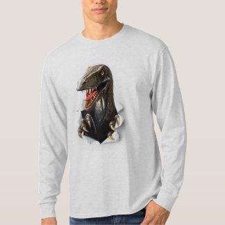 ヴェロキラプトルの恐竜の長袖のTシャツ Tシャツ