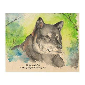 一匹狼の水彩画 ウッドウォールアート