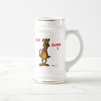 「一口DAWGか。 小犬ステイン ビールジョッキ