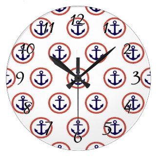 一周されたいかり航海のなパターン ラージ壁時計