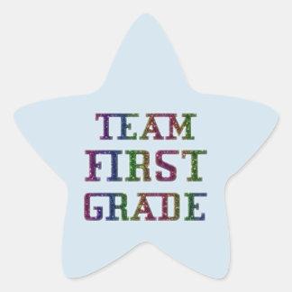 一学年、青いノベルティの学校のステッカーを団結して下さい 星シール