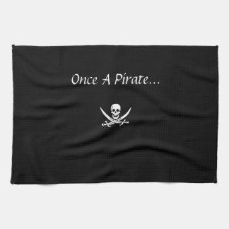 一度海賊台所タオル-黒 キッチンタオル