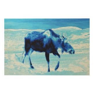 一度青いアメリカヘラジカで ウッドウォールアート