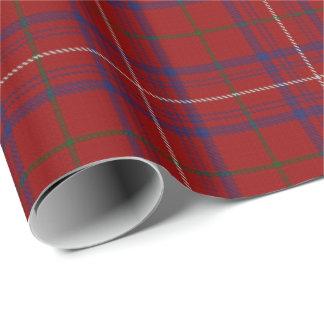 一族のばら色のモダンで赤いスコットランドのタータンチェック ラッピングペーパー