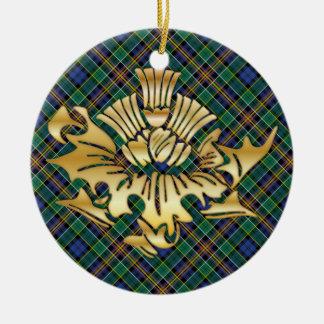 一族のアリソンのタータンチェック及びのどの金ゴールドのスコットランド人のアザミ セラミックオーナメント