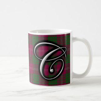 一族のクローフォードのクラシックなモノグラムの手紙Cのタータンチェック コーヒーマグカップ