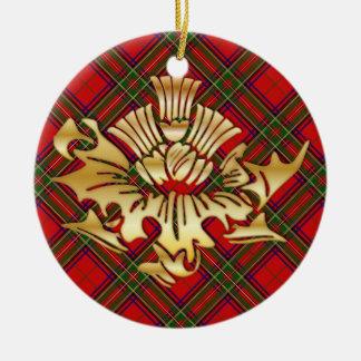 一族のステュワートのタータンチェック及びのどの金ゴールドのスコットランド人のアザミ セラミックオーナメント