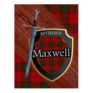 一族のマックスウェルのタータンチェックの剣及び盾 ポストカード