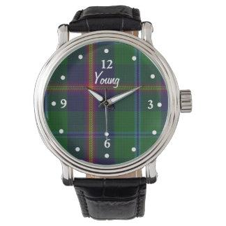 一族の若いタータンチェック格子縞の直面されたカスタムな腕時計 腕時計