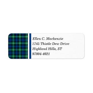 一族のLamontの明るく青および緑のスコットランドのタータンチェック ラベル