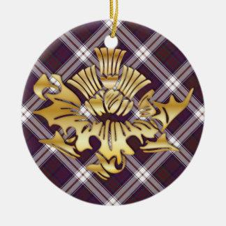 一族のMacDonaldのタータンチェック及びのどの金ゴールドのスコットランド人のアザミ セラミックオーナメント