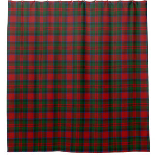 一族のMacDuffの緑の黒く赤いタータンチェック シャワーカーテン