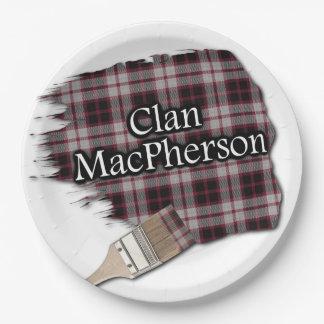 一族のMacPhersonのスコットランドのタータンチェックの絵筆 ペーパープレート