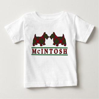 一族のMcIntoshのスコッチテリアはスコットランドの一族のタータンチェックの後をつけます ベビーTシャツ
