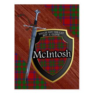 一族のMcIntoshのタータンチェックの剣及び盾 ポストカード