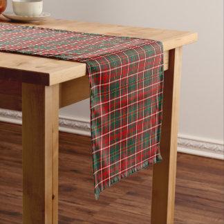 一族は赤いおよび緑のスコットランドのタータンチェックを干し草にします ショートテーブルランナー