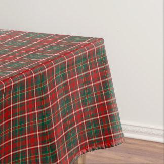 一族は赤いおよび緑のスコットランドのタータンチェックを干し草にします テーブルクロス