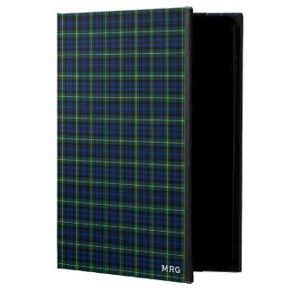 一族ゴードンの青および緑の一族のタータンチェックのモノグラム POWIS iPad AIR 2 ケース