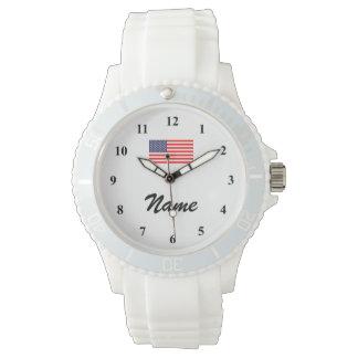 一流および米国旗が付いている名前入りな腕時計 腕時計