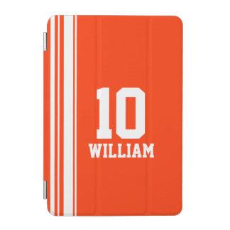 一流のオレンジ及び白いスポーツの名前数ipadカバー iPad miniカバー
