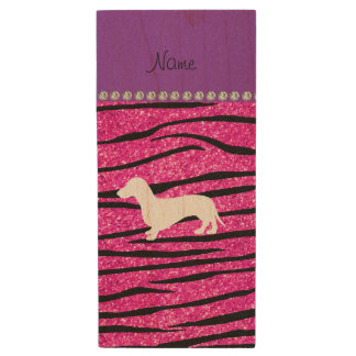 一流のダックスフントのネオンショッキングピンクのグリッターのシマウマは縞で飾ります ウッドUSBフラッシュドライブ