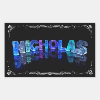 一流のニコラス-ライト(写真)の名前 長方形シール