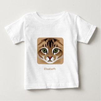 一流のベビーのワイシャツの上のかわいい虎猫猫の顔の終わり ベビーTシャツ