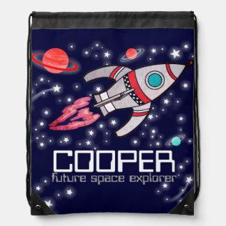 一流のロケットの宇宙探検家はドローストリングバッグをからかいます ナップサック