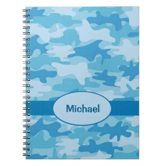 一流の名前入りで青い海軍カムフラージュの執筆 ノートブック