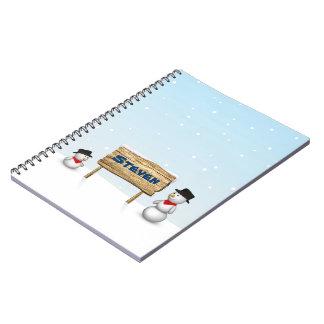 一流の木製の印-ノートが付いているかわいい雪だるま ノートブック