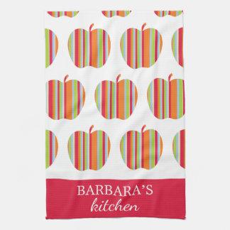 一流の白く及び赤い台所タオルが付いているAppleパターン キッチンタオル