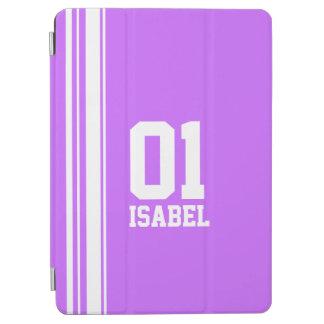 一流の紫色及び白いスポーツの名前数ipadカバー iPad air カバー