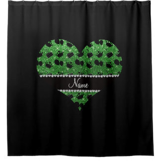 一流の緑のグリッターの王冠の気球のケーキ シャワーカーテン