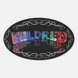一流のMildred -ライト(写真)の名前 楕円形シール