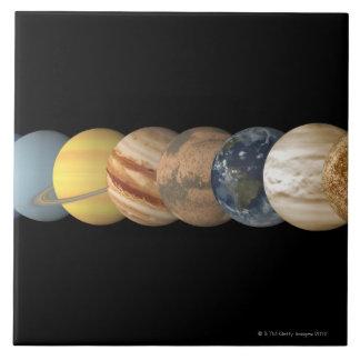 一直線上惑星のイラストレーション タイル