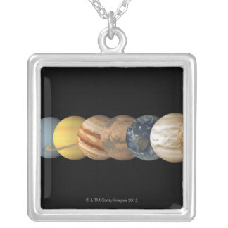 一直線上惑星の絵 カスタムネックレス