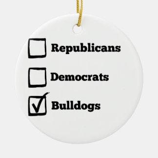 一突きのブルドッグ! 政治選挙犬のプリント セラミックオーナメント