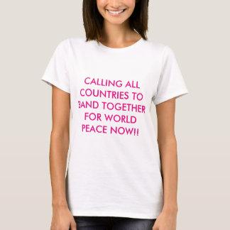 一緒にバンド世界平和b-白のTシャツのために Tシャツ