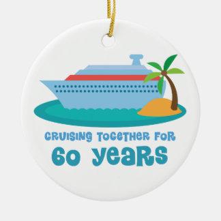 一緒に巡航ギフト60年の間記念日の セラミックオーナメント