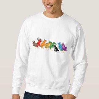 一緒に群がっているカラフルな鳥 スウェットシャツ