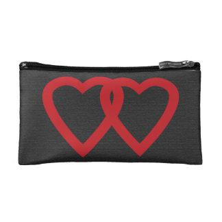 一緒の永久にかわいい2つの赤いハート コスメティックバッグ