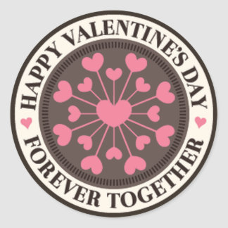 一緒の永久にハートのバレンタインの配列 ラウンドシール