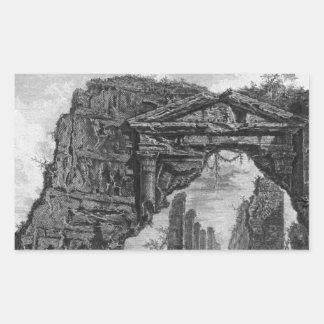 一般に健康として知られている古代寺院 長方形シール
