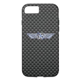一般的な私用空気パイロットのクロムは星の翼を好みます iPhone 8/7ケース